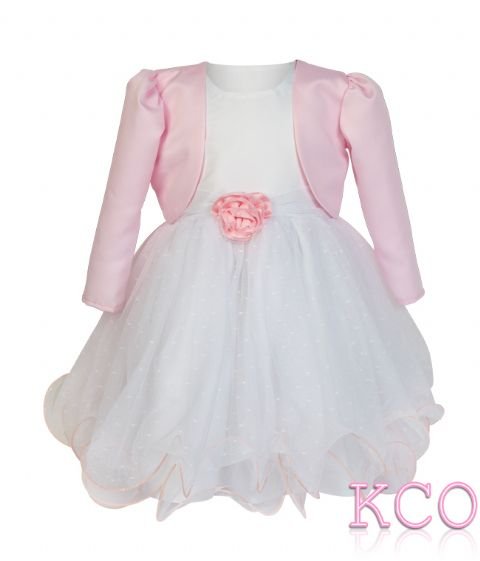 Baby Girls Dress ~ FJD924 Bolero Jacket and Dress White/pink